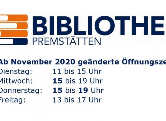 Neue Öffnungszeiten ab November 2020